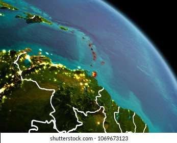 Early morning view of Caribbean highlighted in red on planet Earth with visible border lines and city lights. 3D illustration. Elements of this image furnished by NASA.