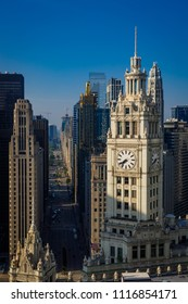 An early morning view of the Chicago Skyline, including Michigan Avenue and the Wrigley Building, is seen June 18, 2018.