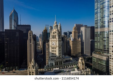 An early morning view of the Chicago Skyline, including Michigan Avenue, Wacker Drive, and the Wrigley Building, is seen June 18, 2018.