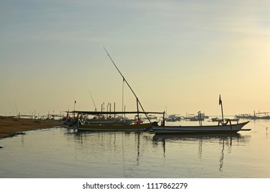 Early morning view of the Fishing Fleet at Sanur, Bali Indonesia