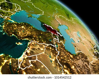 Early morning view of Georgia highlighted in red on planet Earth with visible border lines and city lights. 3D illustration. Elements of this image furnished by NASA.