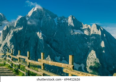 Early morning view of Gran Vernel summit, a mountain of Marmolada massif, as seen from Viel del Pan refuge on Alta Via 2 trekking trail # 601, Dolomites, town of Canazei, province of Trento, Italy