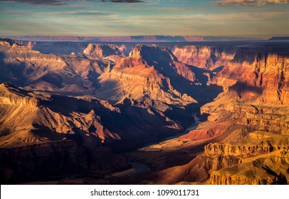 An early morning view of the Grand Canyon and the Colorado river from the south rim, Grand Canyon National Park, Arizona.