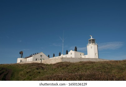 Early Morning View of Lizard Point Lighthouse on the South West Coast Path in Rural Cornwall, England, UK