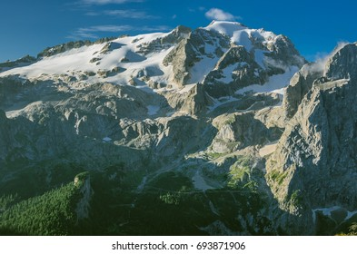 Early morning view of Marmolada mountain massif with Punta Penia (3,343 m), Gran Vernel and Picolo Vernel summits as seen from Viel del Pan refuge, Dolomites, Italy
