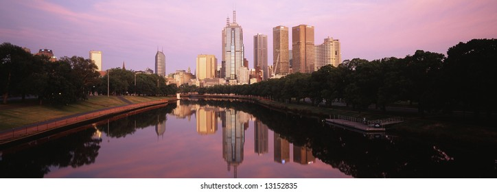 early morning view of melbourne city from yarra river