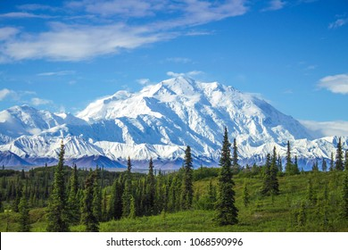 Early morning view of Mount Denali, the tallest peak in continental North America. One of those rare moments when the peak is not covered in clouds.