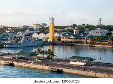 The early morning view in Nassau city port, the most popular vacation destination in Caribbean (Bahamas).