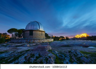 Early morning view of the National Observatory and Acropolis from Pnyx in Athens.