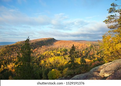 Early morning view from Oberg Mountain of hills along Lake Superior in the fall