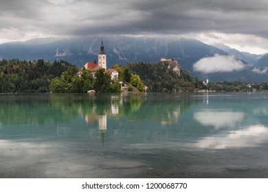 Early morning view On Bled Lake, Island,Church And Castle, Bled, Slovenia, Europe