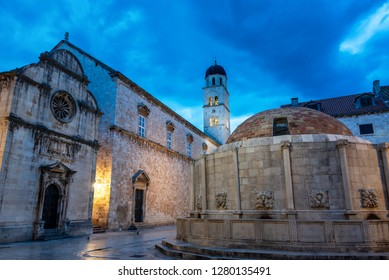 Early morning view of Onofrio's Fountain and a Franciscan Monastery in Dubrovnik, Croatia