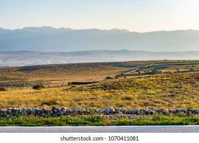 Early morning view of Pag island mediterranean landscape, Croatia.