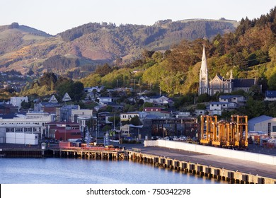 The early morning view of Port Chalmers little town, the suburb of Dunedin city (New Zealand).