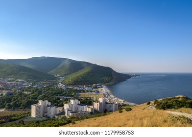 Early morning. The view of the sea and the beach in the village of Sukko near Anapa, Krasnodar Krai, Russia.