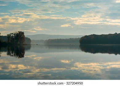Early morning view of the Titicus Reservoir in North Salem New York
