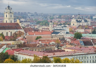 Early morning views of Vilnius in autumn, capital of Lithuania, from Gediminas Hill