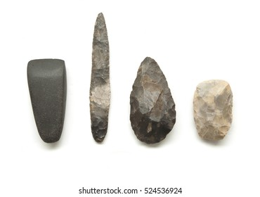 Early prehistoric tools for man, flint knifes and axe