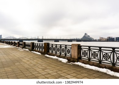 Early spring in Riga, Latvia. The embankment of the Daugava river