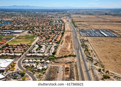 Early stages of the Loop 202 freeway extension looking to the east from above along Pecos Road in Phoenix, Arizona