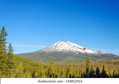 Early summer view of Mt. Bachelor with a beautiful green forest below it.
