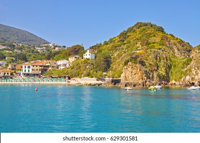 Early Sunny morning on Elba island - azure water and mountains