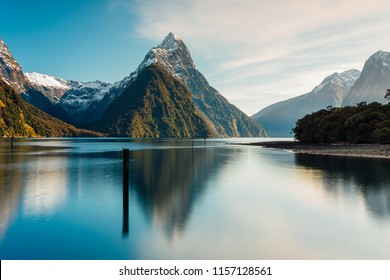 Early sunrise of Mitre Peak in Milford Sound, New Zealand