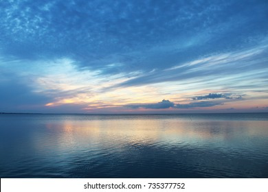 Early sunset oceanscape off South Padre Island Texas