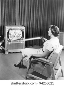 Early Zenith remote control TV set, June 1955