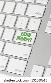 earn money keyboard keyboard button for earning some cash online.