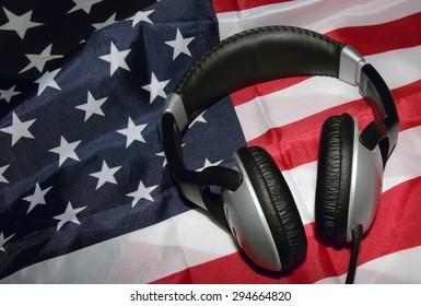 Earphones on American Flag