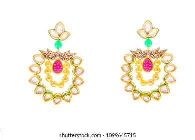 earring on white background / indian jhumka