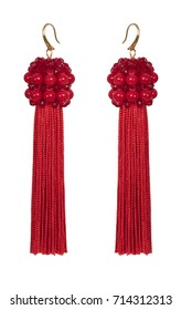 Earrings from beads, pearls and threads red