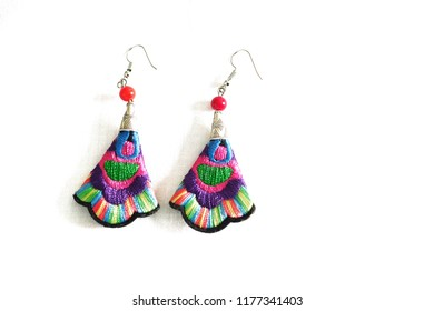 Earrings, a Bohemian pattern  on a white background.