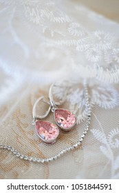 Earrings for brides with white lace, fashion accessories, wedding jewelry