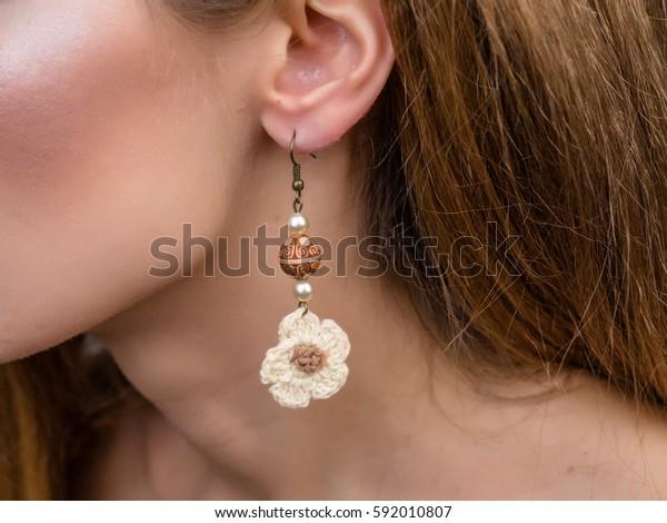 Earrings flowers on ears girls