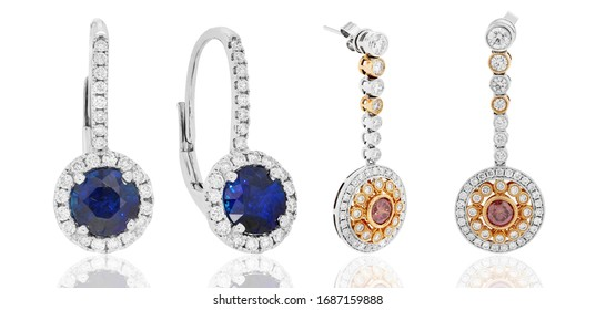 earrings and jewelry with diamonds and gemstones ruby and sapphire