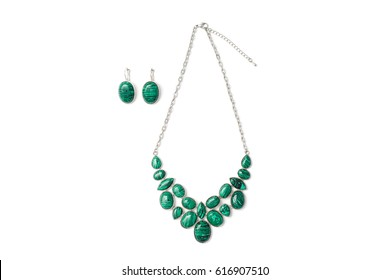 earrings and necklace with green malachite stones and silver chain isolated on white background