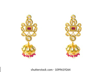 Earrings on white background / Indian jhumka