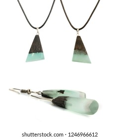 Earrings of Turquoise Color Isolated on White Background. Bijouterie Made of Epoxy Resin and Wood