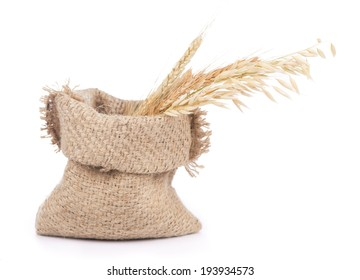 ears of a rye, wheat and oats in a linen bag on a white background