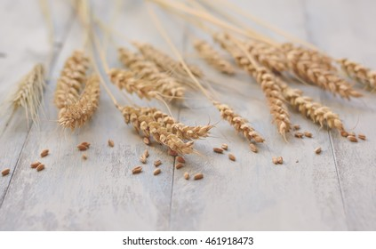 Ears of wheat on table