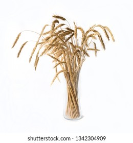 ears of wheat in a vase isolated on white background.