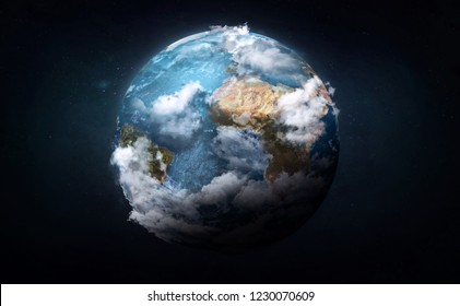 Earth with 3d clouds collage in the space. Blue vision. Elements of this image furnished by NASA