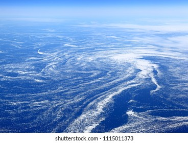 The Earth from above: Floating sea ice caught in marine currents off the eastern coast of Canada.