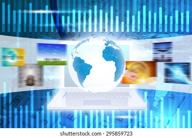 Earth above white laptop and wide virtual tape with keyboard es on abstract background with world map and numbers. Elements of this image furnished by NASA