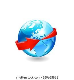 Earth with arrow circle around. Raster copy.