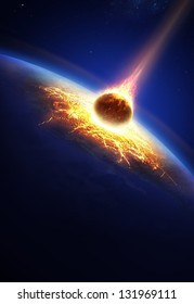 Earth and asteroid colliding (Elements of this image furnished by NASA- earthmap for render  from http://visibleearth.nasa.gov)