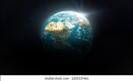 Earth in the black space. Elements of this image furnished by NASA.