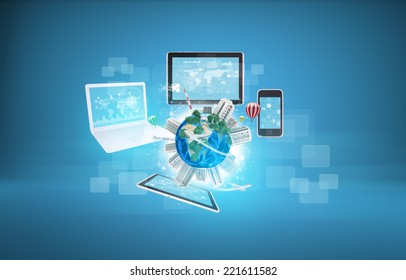 Earth with buildings and laptop, tablets and smartphone. Element of this image furnished by NASA